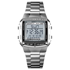 Glass Square Chronograph Digital Display Men's Watches