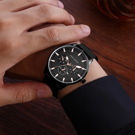 Business Style Glass Surface Stainless Steel Luminous Men's Watch