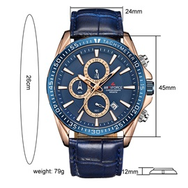 Luminous Pointer Water Resistant PU Leather Men's Watch