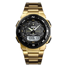 Glass Analog-Digital Dial Alarm Stainless Steel Men's Watches