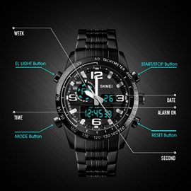 Glass Surface Digital Display Round Men's Watches