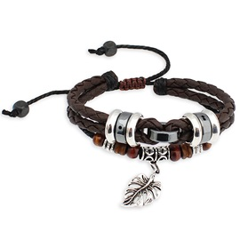 Vintage Style Man-made with Leaf Leather Bracelet