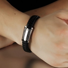 Black Patchwork Plaid Bracelet