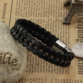 Black Patchwork Hollow PU Bracelet