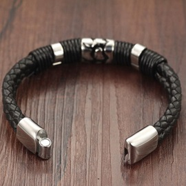 Cool Alloy Decorated Leather Bracelet for Men