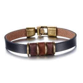 Handsome with Metal Decorated Leather Bracelet