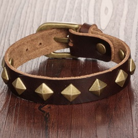 Rivets Decorated with Buckle Leather Bracelet