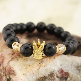 Crown Design Black Bead Stretch Bracelet