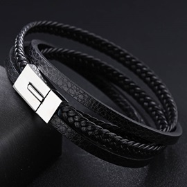 Simple Multilayer Braiding Leather Bracelet for Men