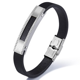 Personality Men's Titanium Steel & Leather Bracelet