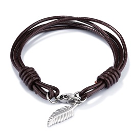 Silver Alloy Leaf Pendant Mutilayer PU Leather Hook Clasp Bracelets & Bangles
