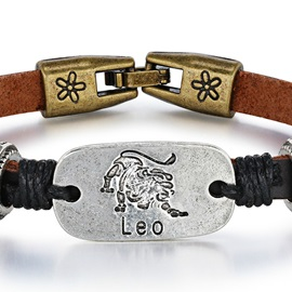 Leo Alloy Leather Couple Constellation Men's Bracelets