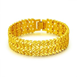 Wheatear Shape Gold Plated Bronze African Bracelets for Men