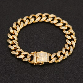 Golden Rhinestone E-plating High Quality Men's Bracelet