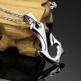 Unique Fishhook Pendent Men's Necklace