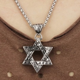 Men's Hollow-out Pentagram Pendent Necklace