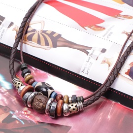 Fashion Double-deck Beads Decorated Men's Necklace