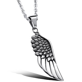 Titanium Angel Wing Men's Pendant Necklace