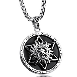 Six Awn Star Totem Design Stainless Steel Men's Pendant Necklace
