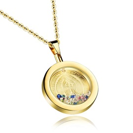 Women's Colorful Diamond Round Pendant Necklace