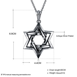 Hexagram Hollow Out Stainless Steel Pendant Necklace