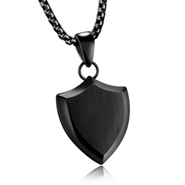 Men's Shield Pendant Neckalce