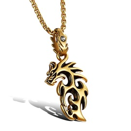 Charming Dragon Pendant Men's Necklace