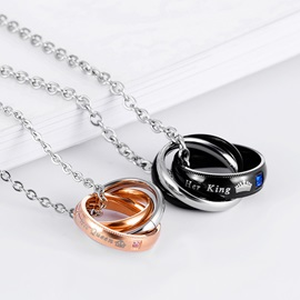 Letter & Crown Pattern E-plating Lovers' Necklace