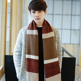Classic Color Block Thicken Men's Scarf