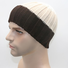 Wide Stripe Color Block Men's Knitted Cap