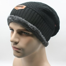 Pure Color Warm Men's Plush Knitted Cap