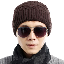 Warm Solid Color Men's Knitted Hat