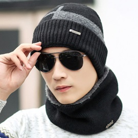 Winter Cold-Proof Woolen Yarn Cashmere Men's Loop Hats