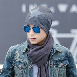 Star Pattern Thin Knitted Men's Hats