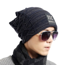 Letter Pattern Dome Outdoor Knitted Men's Hats