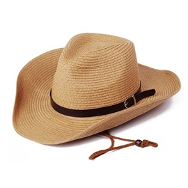 Outdoors Belt Decorated Wide Brim Summer Straw Men's Hat
