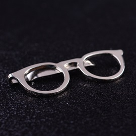 Concise Glasses Shape Men's Suit Tie Clips