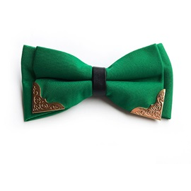 Plain Color with Golden Metal Decorated Formal Men's Bow Tie