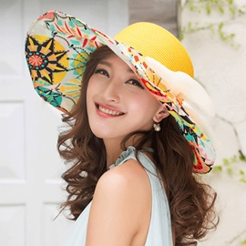 Pattern Printed with Bowknot Women's Straw Hat