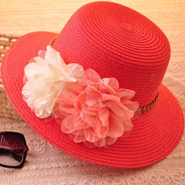 Bohemia Flower and Belt Decorated Straw Hat