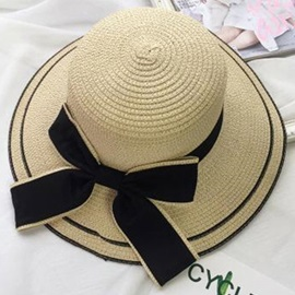 Large Bowknot Embellished Wide Brim Outdoor Sun Hat