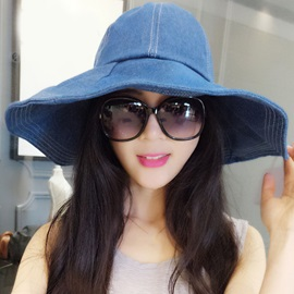 Trendy Wide Brim Pure Color Denim Sun Hat