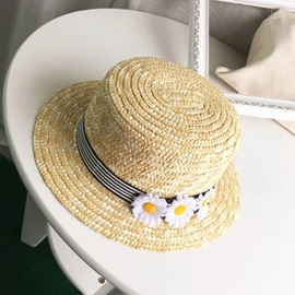 Daisy Fedora Seaside Wheat-Straw Flat Preppy Hats