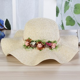 Pastoral Style Rolled Brim Summer Beach Straw Hat