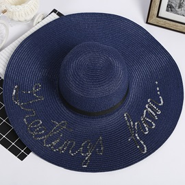 Plain Letter Decorated Dome Summer Beach Hat