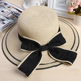 Color Block Bowknot Embellished Summer Beach Hat