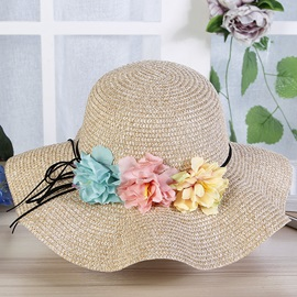 Foldable Straw Plaited Article Floral Beach Suncreen Hat