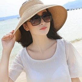 Foldable Wide Brim Solid Color Sun Visor Cap