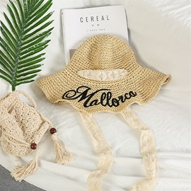 Collapsible Sunscreen Letter Decorated Ribbon Straw Sun Hat