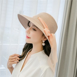 Bowknot Straw Plaited Article Casual Plain Hat